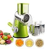 1 de ajuste manual de queso rallador de verduras Rotary máquina de cortar cortador de la fruta Queso desfibradora del rallador de tambor rotatorio con 3 Acero inoxidable Segadoras (verde)