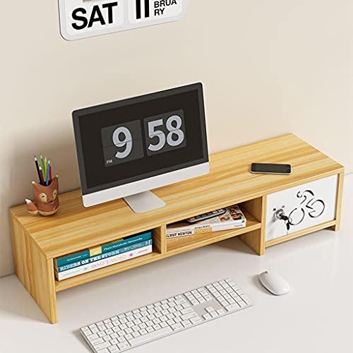 Soporte de monitor de madera Riser con cajón, soporte de computadora de servicio pesado para Monitor de escritorio, 2 organizadores y accesorios de escritorio de soporte de monitor, 2 tier monitor org