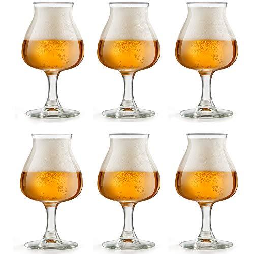 Libbey Vaso de Cerveza Iseo - 41 cl / 410 ml - 6 Unidades - Con Pie - Ideal Para Degustación de Cerveza