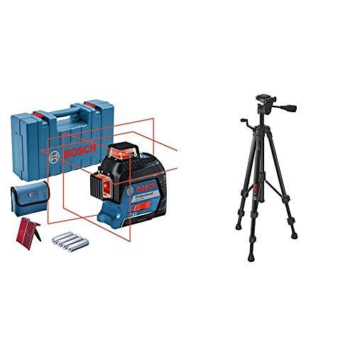 Bosch Professional GLL 3-80 - Nivel láser (alcance hasta 30 m, 4 pilas AA, en maletín + BT 150 - Trípode de construcción), 55 – 157 cm, rosca 1/4 pulgadas, en caja