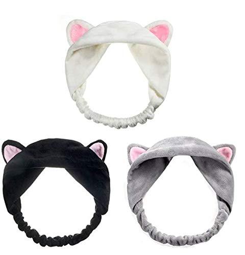 TOCYORIC 3pcs Stirnband Haarbänder Mit Katzenohr Haarschmuck Haarreifen Haarband für Damen Mädchen Gesichtswäsche Make up