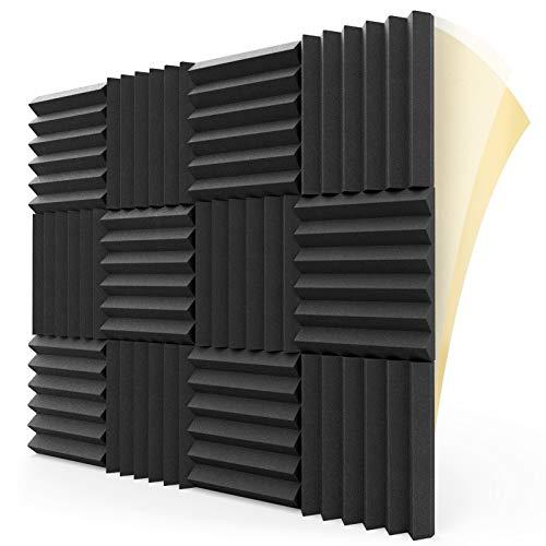 "HEMRLY 12 Pack Sound Proof Foam Panels Self-Adhesive, 1.5"" X 12"" X 12"" Acoustic Foam Soundproof Wall Panels, High Density Acoustic Foam Panels for Home Studio Ceiling"