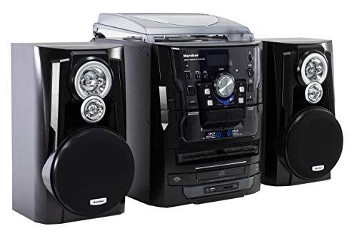 Karcher KA 350 Kompaktanlage (3-fach CD-Wechsler, Doppelkassettendeck, Schallplattenspieler, USB, SD-Kartenleser, Radio, Fernbedienung) schwarz