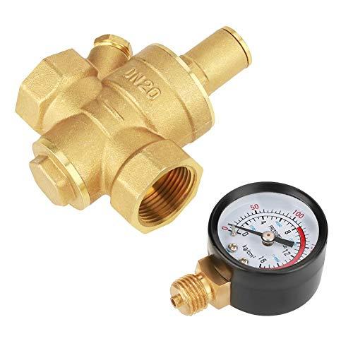 Oumefar DN20 Válvula reguladora de presión Reductor de presión Ajustable de latón Interruptor regulador del compresor de Aire con Perilla y medidor de medición para Aire líquido