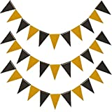 MerryNine Triangle Flag Bunting Banner, 3 Pack 30 Feet Vintage Style Pennant Banner for Wedding, Baby Shower, Event & Party Supplies 45pcs Flags (Triangle Flag - Black Gold Glitter)
