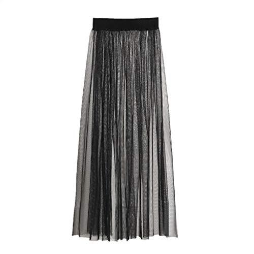 Haptian Womens Sexy zien door middel van Mesh Maxi lange Tulle Rok Ultra-dunne geplooide Flowy Effen kleur hoge taille Cocktail Party Clubwear enkele laag A-lijn jurk (Zwart-1 stuk)