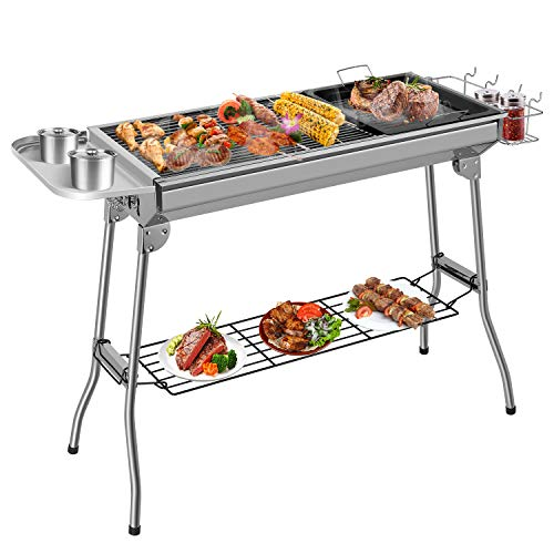 Femor Barbecue à Charbon, Barbecue Pliant Portable, BBQ de Table en Acier Inoxydable, pour Barbecue...