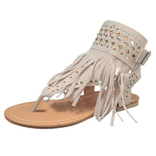 Minetom Sandalen Damen Schuhe Flip-Flops Böhmen Shoes Schuh Sommer Bequeme Frauen Übergröße Offene Strand Quaste Flache Badesandalette Beige EU 42