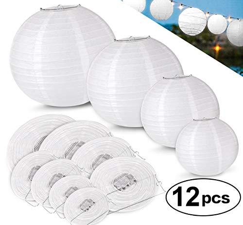 ilauke 12pcs Lampion Papier Blanc Lanterne Blanche à Papier Rond Lampe pour Anniversaire Décorations de Mariage Décorations Artisanales (6' 8' 10' 12')