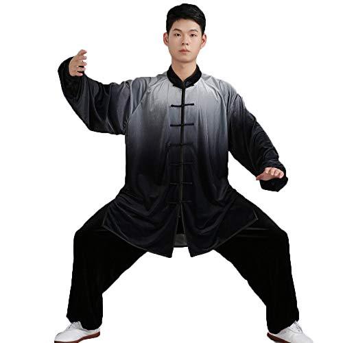 Abbigliamento Tai Chi Traspirante Cambio Graduale Uniforme Tai Chi Tenere al Caldo Abbigliamento Kung Fu Qi Gong Abbigliamento per Arti Marziali Abbigliamento Performance di Gruppo,Black-XL
