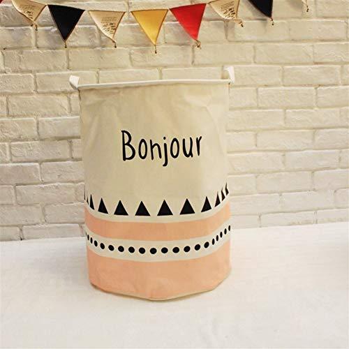 JiaxianGu3Je Große Pop-up Wäschekörbe Kordelzug wasserdichte runde Baumwolle Leinen Faltbare Ablagekorb (Multicolor optional) (Color : Bonjour)