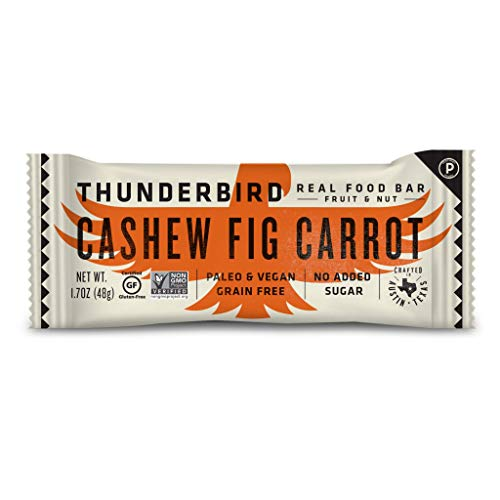 Thunderbird Paleo and Vegan Snacks - Real Food Energy Bars - Fruit & Nut Nutrition Bars - No Added Sugar, Grain and Gluten Free, Non-GMO, 15 Pack (Cashew Fig Carrot)