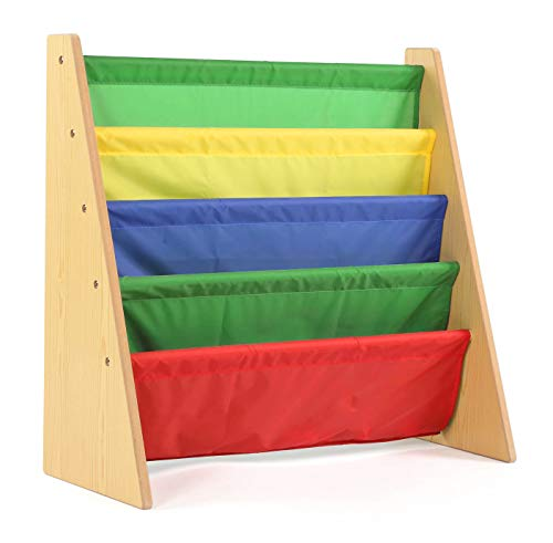 Tot Tutors WO593 Kids Book Rack Storage Bookshelf, 28.00 x 11.00 x 28.00, Natural/Primary