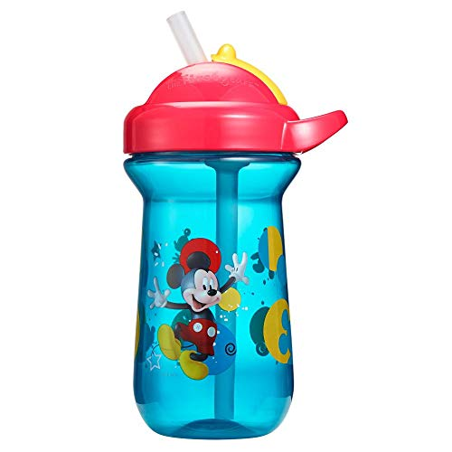 The First Years Flip-Top Straw Cup for Toddlers, Disney Mickey Mouse, 10 Ounce