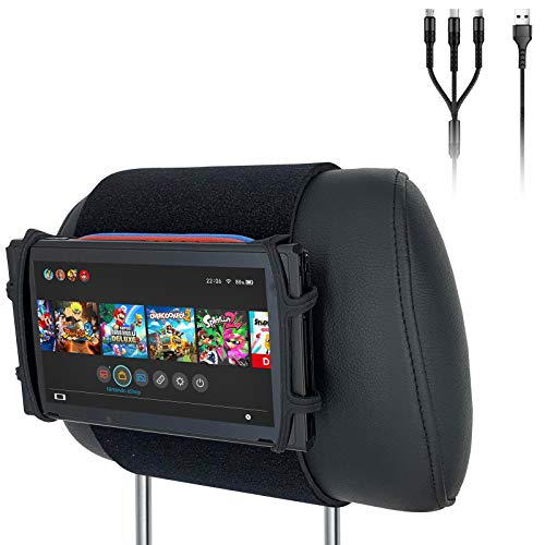Car Headrest Mount Silicon Holder for Nintendo Switch Console, iPad Mini, Kindle Paperwhite with 3-in-1 USB Cable (Neon Red/Blue)