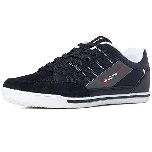 Alpine Swiss Mens Stefan Black Suede Trim Retro Fashion Sneakers 10 M US