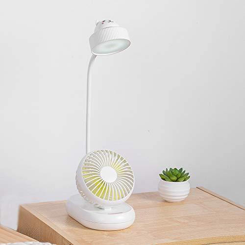 WELBLQ Ventilador de escritorio portátil, 2 en 1 USB, protección de los ojos, lámpara de escritorio de oficina mini ventilador silencioso, plástico, Blanco, Size