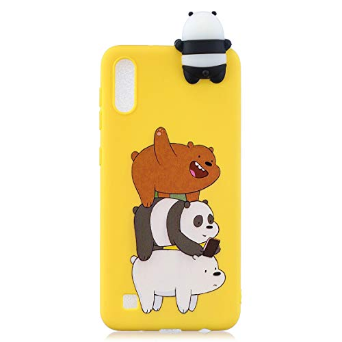 WUBAOUK 3D Cartoon Hülle Kompatibel mit Samsung A10, Cute Animal Bear family Design Soft TPU Rubber Bumper Slim Silicone Hülle Candy Color Skin Back Cover