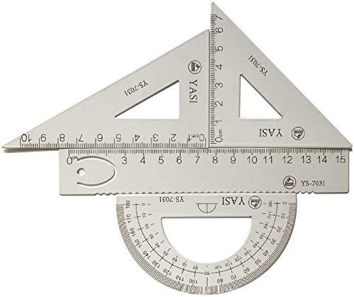 ECHG 4 pz Lega di Alluminio Triangolo Righello Quadrato Set Math Geometry Tool
