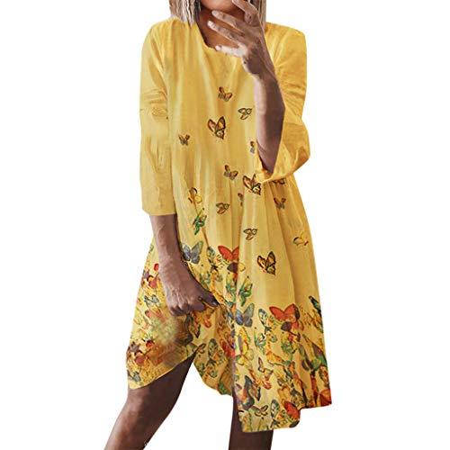 Damen-Kleid mit Rundhalsausschnitt und langen Ärmeln für Damen, Bohemian-Stil, Feminino-Druck, Tunika-Kleid, Übergröße, Sommer, Urlaubskleidung, Lose, Party, Pullover Kleid, Größe 36-50 Gr. Medium, Gelb (B)
