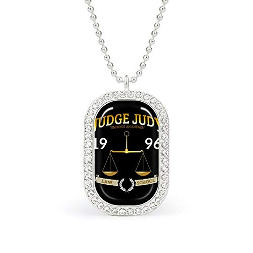 Judge Judy School of Law white necklace Christmas Jewelry Gifts Birthday Gifts for ladies and girls with square pendant