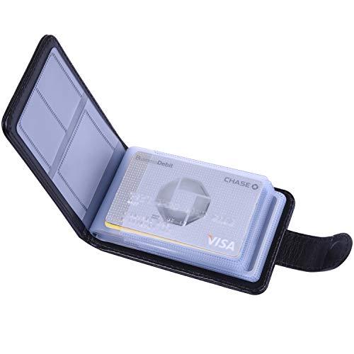 クレジットカードケース Wisdompro 磁気防止 スキミング防止 PUレザー 二つ折り 大容量 カードホルダー カード入れ 横型 ブラック 【20枚収納+6枚収納(メモリカード用)】