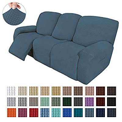 Easy-Going 8 Pieces Recliner Sofa Stretch Sofa Slipcover Sofa Cover Furniture Protector Couch Soft with Elastic Bottom Kids, Spandex Jacquard Fabric Small Checks Bluestone