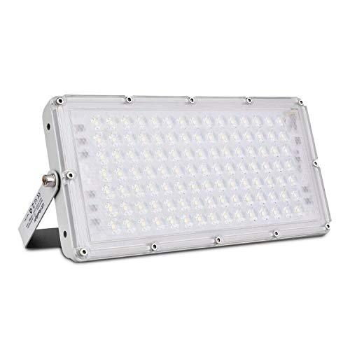 Faro LED da 100W Ultra sottile Luce di sicurezza IP66 impermeabile Faretto LED da Esterno 10000 lm 6500K Bianco freddo per giardino, cortile, garage, parcheggio, magazzino [classe energetica A+]