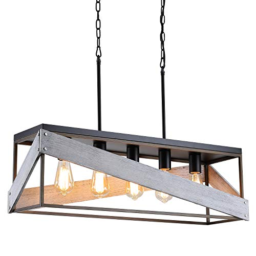 Modern Farmhouse Kitchen Island Lighting, Wood and Metal Linear Chandelier, 5 Lights Rustic Pendant Light Fixture for Kitchen Island Dining Room, Antique Gold and Black