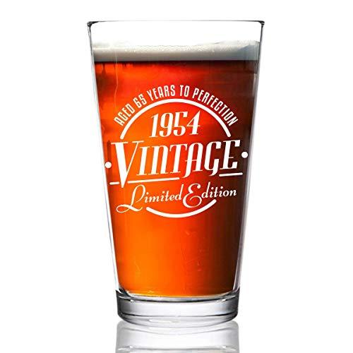 ANVPI 1954 Vintage Edition 65e verjaardag bierglas voor mannen en vrouwen 65e verjaardag 16 oz- Elegante gelukkige verjaardag pint bierglazen voor ambachtelijke bier klassieke verjaardagscadeau, reünie cadeau voor hem of haar