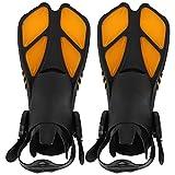 Aletas de snorkel, aletas de natación Aletas de buceo naranjas Aletas de entrenamiento de natación altamente flexibles Canales dobles para drenaje TPR + PP para actividades de piscina de(M)