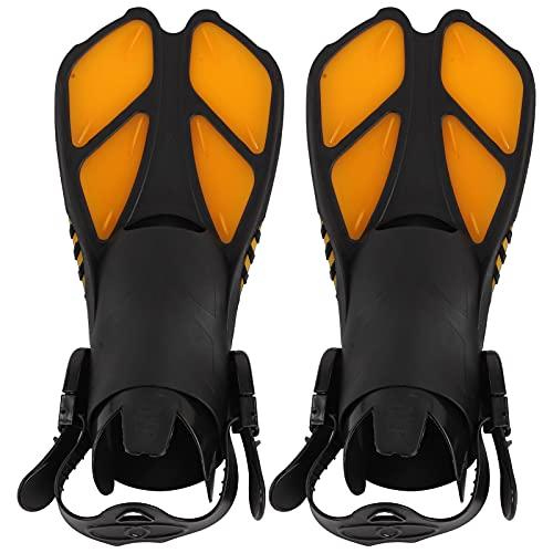 KUIDAMOS Aletas de Snorkel, Aletas de natación Aletas de Buceo largas Naranja TPR + PP Aletas de Entrenamiento de natación para Actividades en la Piscina de Buceo Hombres Mujeres(M)