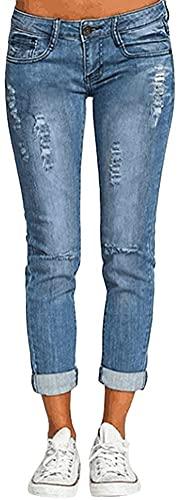ORANDESIGNE Straight Jean Droit Femme Jeans Boyfriend Taille Haute Mom Jean Pantalons en Denim D Bleu Clair L