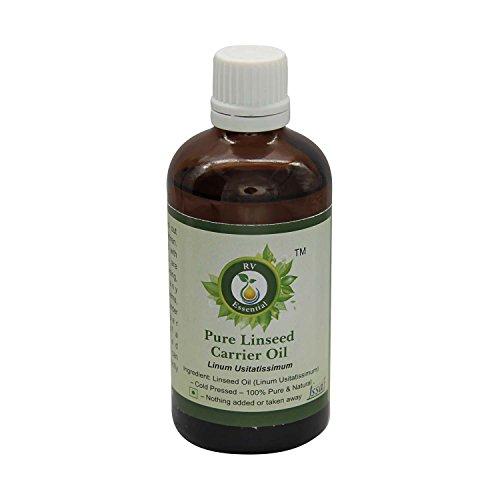 R V Essential Puro 30ml del aceite del portador de linaza (1.01 oz)- Linum usitatissimum (100% pura y fría natural prensada) Pure Linseed Carrier Oil