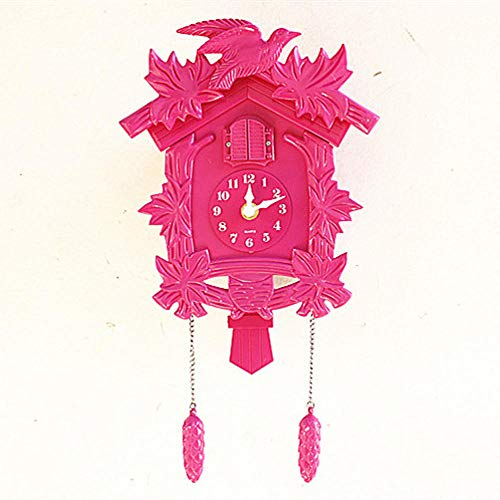 Mubgo Wandklokken Clock Wall Clock Bird Alarm Clock Children's Room Pendant Farmhouse Decor Guess Women Wall Clock Mute roze
