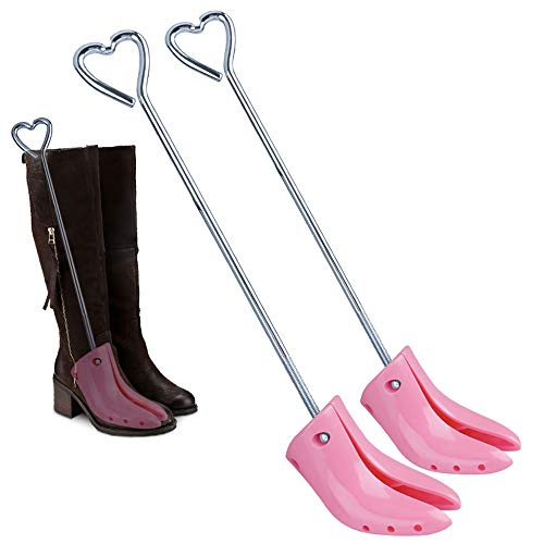 Bootbrancard/schoenbrancards voor brede voeten - Shoe Brancard schoenbrancard Vrouwen/laarzen for dames Stretcher/Met Ophoging Sticker/Universal/Verstelbare Breedte/One Pair/Pink