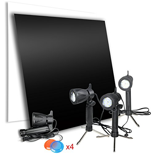 Emart Product Photography Reflective Display Board with Table Top Lighting Kit, Black & White 24 x 24 inch Acrylic Photo Shooting Background, Portable Continuous Light 4 x 12 LED Lamp