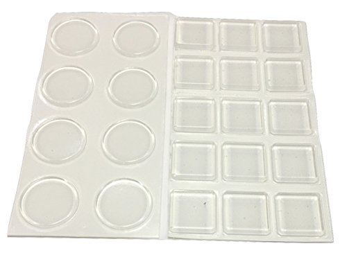 1 Inch Clear Adhesive Bumpers Combo Pack (Square, Circle) - Made in USA - Set of 23 Transparent Glass Protective Pads, Self Stick Rubber Pads for Glass Table Top, Furniture Feet, Picture Frames