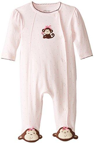 Little Me Baby-Girls Newborn Pretty Monkey Footie, Light Pink, 3 Months