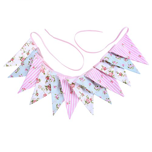 Whaline Double Sided Fabric Bunting Banner Vintage Style Chic Floral Triangle Garlands for Wedding Party Birthday Ceremonies Home Decoration