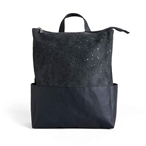 Black Knapsack, Faux Leather Backpack, Travel Rucksack, School Work Laptop Bag For Women, Vegan Rucksack