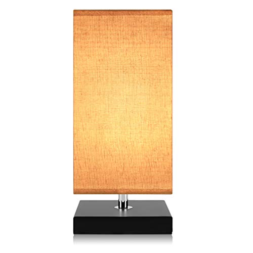 Minimalist Table Lamp Bedside Desk Lamp, Aooshine Nightstand Lamps with Solid Wood and Retro Square Fabric Shade for Bedroom, Dresser, Living Room, Kids Room, College Dorm, Coffee Table, Bookcase