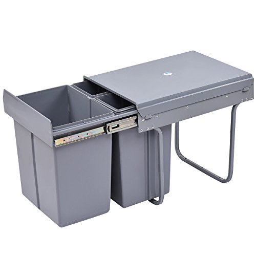 Costzon Pull Out Waste Bin 3 Component Trash Container with Slides, 42 Qt.