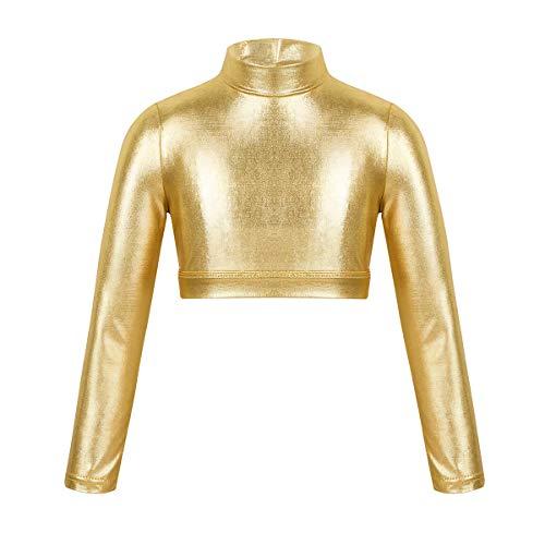 ranrann Mädchen Crop Top Metallic Oberteile Bauchfrei T-Shirt Langarm Hemd Blusen Sommer Kurz Shirt Tanz Ballett Sport Gymnastik Turnanzug 5-14 Jahre Gold 146-152/11-12Jahre