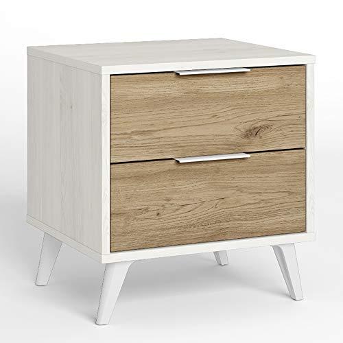 VS Venta-stock Koln Nachttisch 2 Schubladen Farbe Weiß/Holz, 45 cm (Breite) 40 cm (Tiefe) 48,4 cm (Höhe)