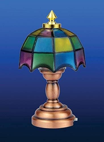 SA-maison de poupée DE310 Lampe de table Tiffany LED sans Batterie 1:12 pour maison de poupée