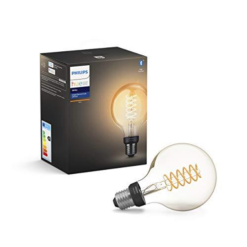 Philips Hue White Filament G93 Lampadina a Filamento Connessa, con Bluetooth, Dimmerabile, Attacco E27, 9 W, 1 Pezzo, 2100K
