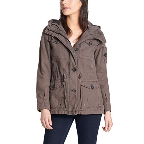 Levi's Women's Cotton Four Pocket Hooded Field Jacket, grey, Large
