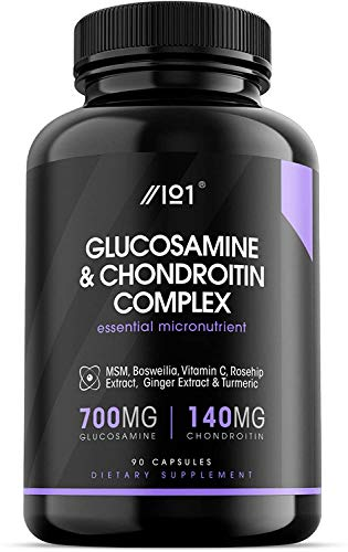 Glucosamine 2 KCL & Chondroitin Complex - with MSM, Boswellia, Rosehip, Ginger & Turmeric - Made from Pasture Raised, Grass-Fed Bovine - Non-GMO, 180 Capsules. (1 Pack)
