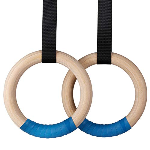 INTEY Wood Gymnastic Rings 1500lbs, Industrial-Grade Buckle,...